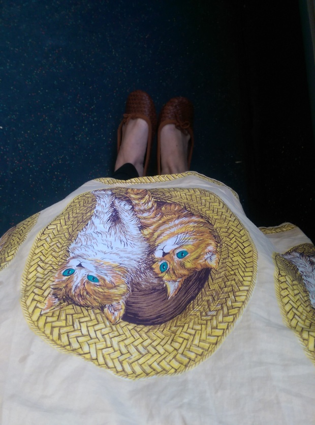 What I wore: Awesome cat skirt