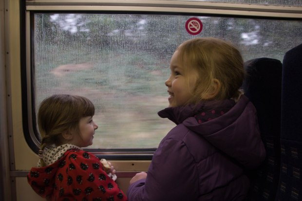 Betsy and Seren on a train